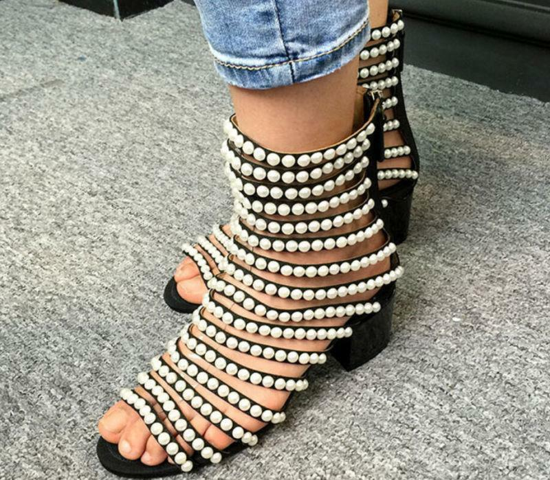 femmes Roma High Top Pearl Hollow Out Open Toe Sandals Flat C2l Fashion chaussures