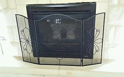 FRENCH PROVINCIAL FIRE SCREEN BLACK 115 CM X 71 CM  ( SECONDS NEW )