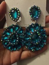 "3.2"" Big Long Clip On Teal Silver Crystal Bridal Drag Queen Formal Earrings"