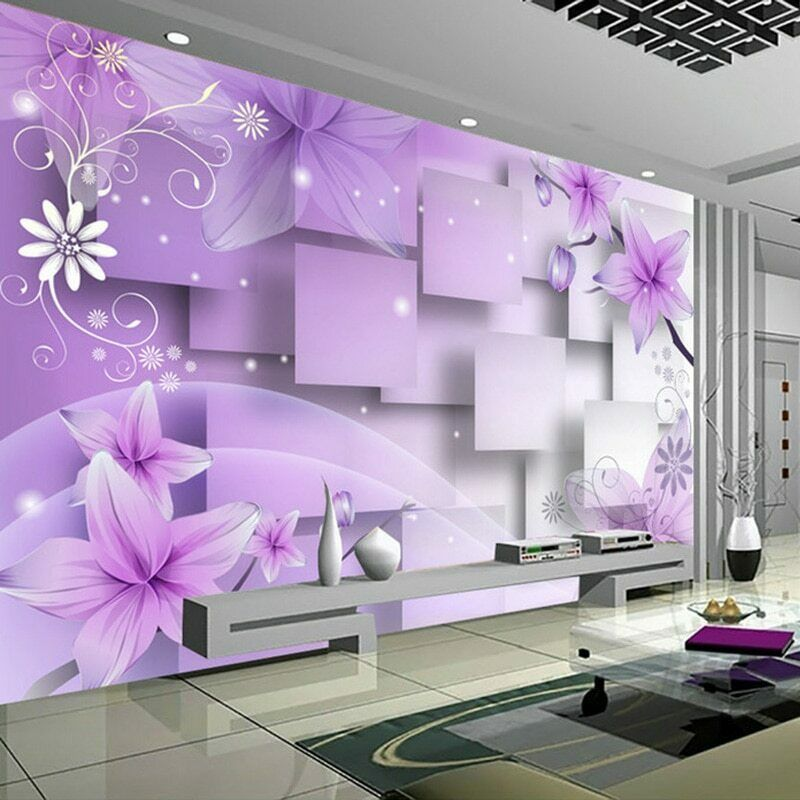 3D Purple Floral Flower Abstract Art Wall Mural Wallpaper Living Room Bedroom