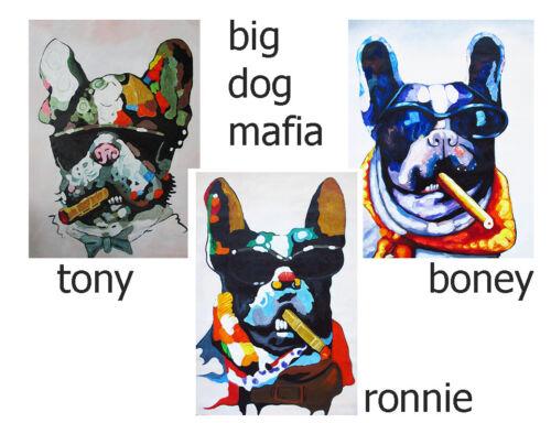 BIG DOG MAFIA A1 SUPER SIZE CANVAS STREET ART GRAFFITI BANKSY CIGAR PAINTING