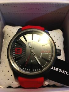 New-Diesel-Mens-Watch-Rasp-Gunmetal-Grey-Steel-Case-Red-Silicone-Strap-DZ1806