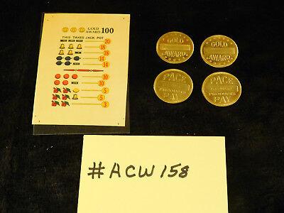 Pace Gold Award Token for Antique Slot Machine Gold Award 4 Tokens