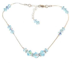 AQUAMARINE-Blue-Crystal-Anklet-ANKLE-BRACELET-Sterling-Silver-Swarovski-Elements