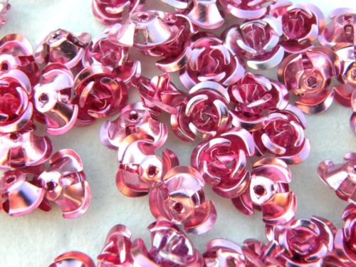 100 12mm x 7mm Pink Aluminium Rose Beads with Hole