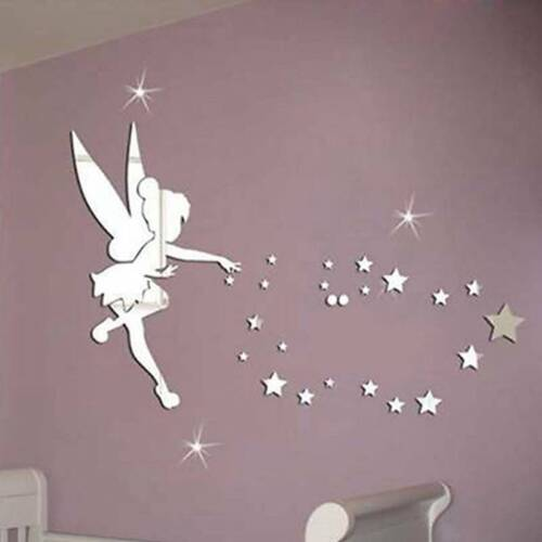 Fairy Girls Mirror Wall Sticker Art Mural Decal Wall Stickers Home Room Decor FB