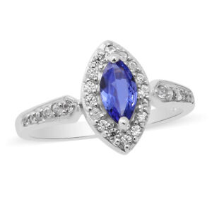 925 Sterling Silver Platinum Over Blue Tanzanite Zircon Halo Ring Size 9 Ct 2