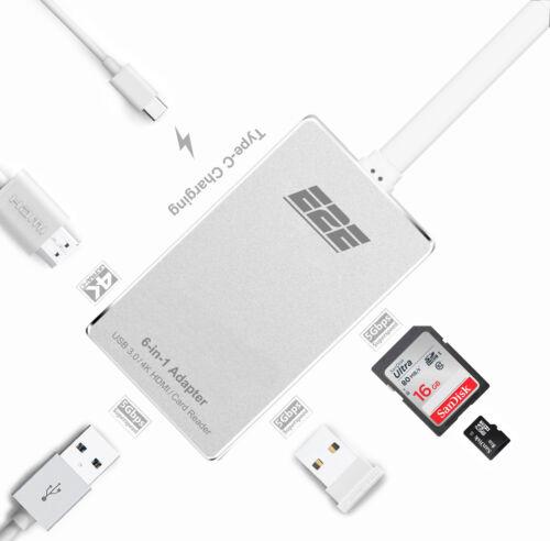 "E2E Silver USB 3.1 Type-C to HDMI USB 3.0 SD Card Hub for Macbook Pro 13/"" A1708"