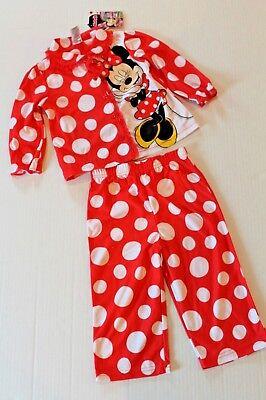 Disney Red /& White Polka Dot Girls Footed Pajamas Sleepwear /& Hat 2T
