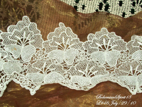 Vintage Embroidered WHITE FLOWERS LACE TRIMMING BY THE FOOT 7/'/' W old//New Stock