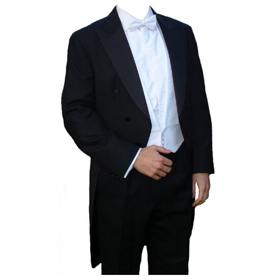 Poly-Wool White Tie Tailcoat 46  Long