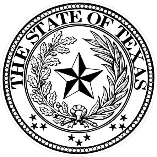 """22/"""" State of Texas Seal Decal Sticker Fully Laminated Sherpa #G196 8/"""""""