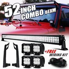 """52"""" 700W LED Work Light Bar 2x 4"""" Light Pods +Mount Bracket For Jeep Wrangler JK"""