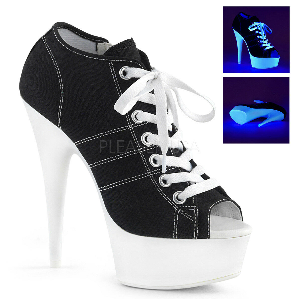 Pleaser DELIGHT-600SK-01 Wohombres negro Canvas Neon blanco Heels Platform botaie