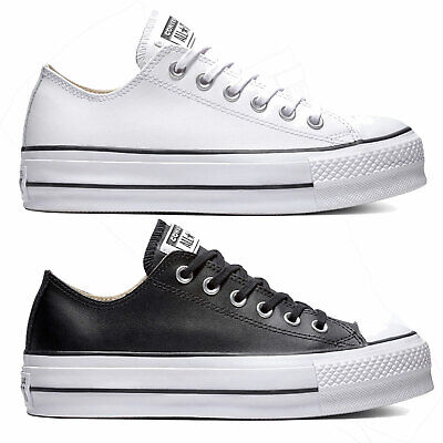 Converse Chuck Taylor All Star Soulever Clean Bœuf Cuir Baskets Femmes Baskets | eBay