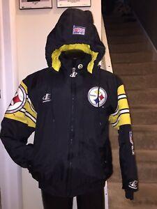 size 40 a8456 8b621 Details about VTG Steelers NFL 90s Logo Athletic Pro Line L Winter Jacket  Rare OG Pittsburgh