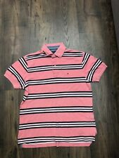Mens Tommy Hilfiger Pink White Striped Polo Neck Short Sleeve T-shirt - Size S