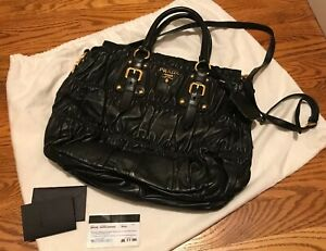 2e3f35fdce1b Image is loading Authentic-Prada-BN1336-Gaufre-Nappa-Leather-Nero-Shoulder-