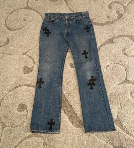 Chrome Hearts Men's Jeans Denim Leather Cross Patc