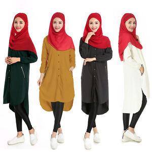 11d0eece8300 Ladies Women Long Sleeve Shirt dress Muslim Abaya Islamic Fashion ...