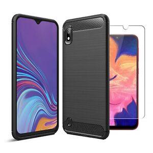 For-Samsung-Galaxy-A10-Case-Carbon-Fibre-Cover-amp-Glass-Screen-Protector