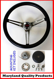 Chevelle-Camaro-Nova-Impala-Grant-Steering-Wheel-Red-Black-bowtie-cap-Black-15-034
