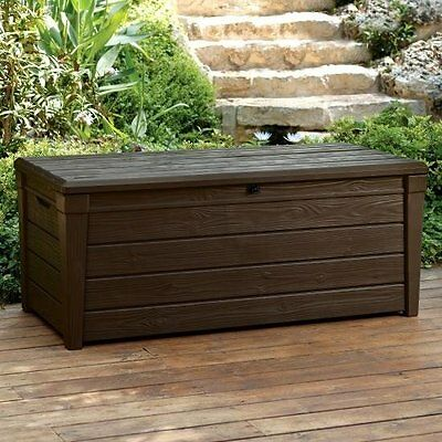 Keter Saxon Brightwood XL Size 454L Waterproof Lockabl Garden Storage Bench Box