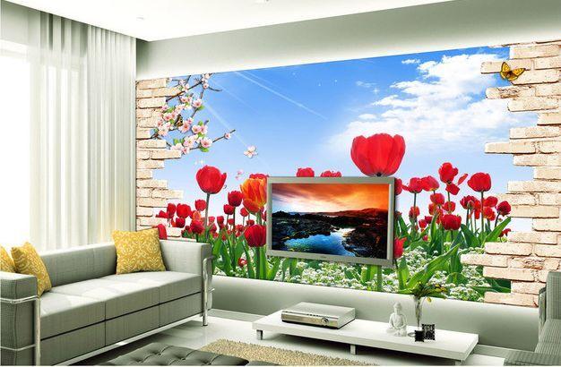 3D tulipani rossi 3 Parete Murale Carta da parati immagine sfondo muro stampa