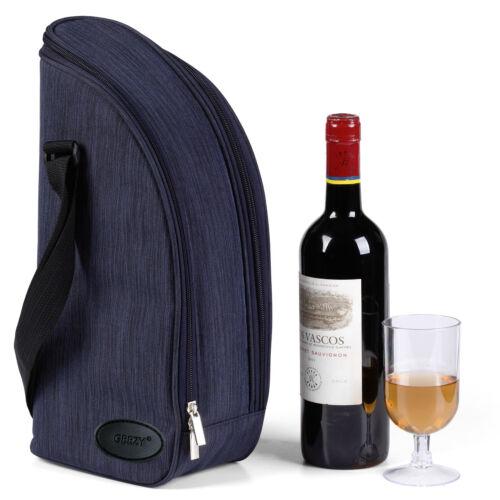 Geezy 2 personne isolée Denim Bouteille Vin Refroidisseur Sac Picnic Boissons Fraîches Transporteur