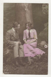 Romantic-Glamour-Greetings-Couple-In-The-Woods-Vintage-RPPC-Postcard-US075