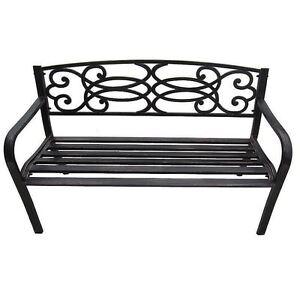 Outdoor Home Garden 3 Seater Patio Bench Seat Furniture Black Metal