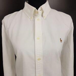 Ralph-Lauren-femme-epaisse-Chemise-XL-a-manches-longues-blanc-ajustement-personnalise-en-coton