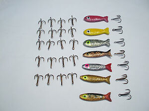 7-ORIGINAL-HURSTS-HARASSER-TROUT-LURES-AND-20-SPARE-TREBBLE-HOOKS