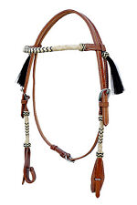 Western Natural Rolled Rawhide Braided Browband & Cheek Headstall With Bk Tassel