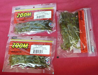 THREE x Pack of NINE Watermelon Chartruese, 27x Zoom Bait 6-Inch Lizard Bait
