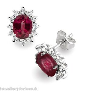 18Carat-White-Gold-Natural-Ruby-amp-Diamonds-Oval-Cluster-Pair-Earrings-Hallmarked