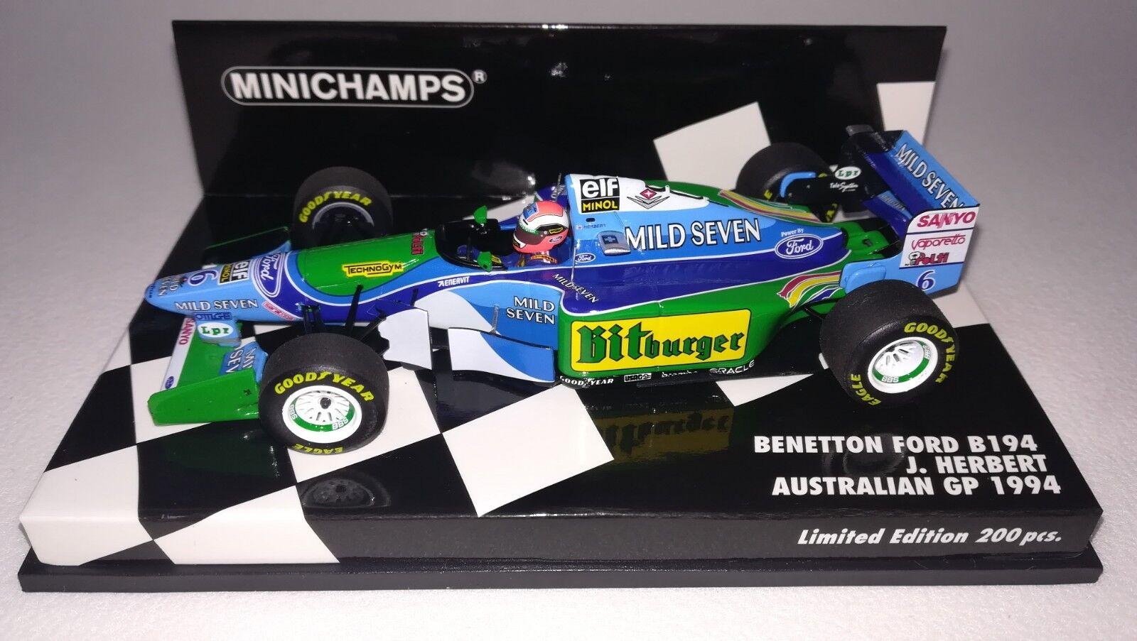 Minichamps F1 Benetton B194 Johnny Herbert 1 43 Australian GP 1994 'Mild Seven'
