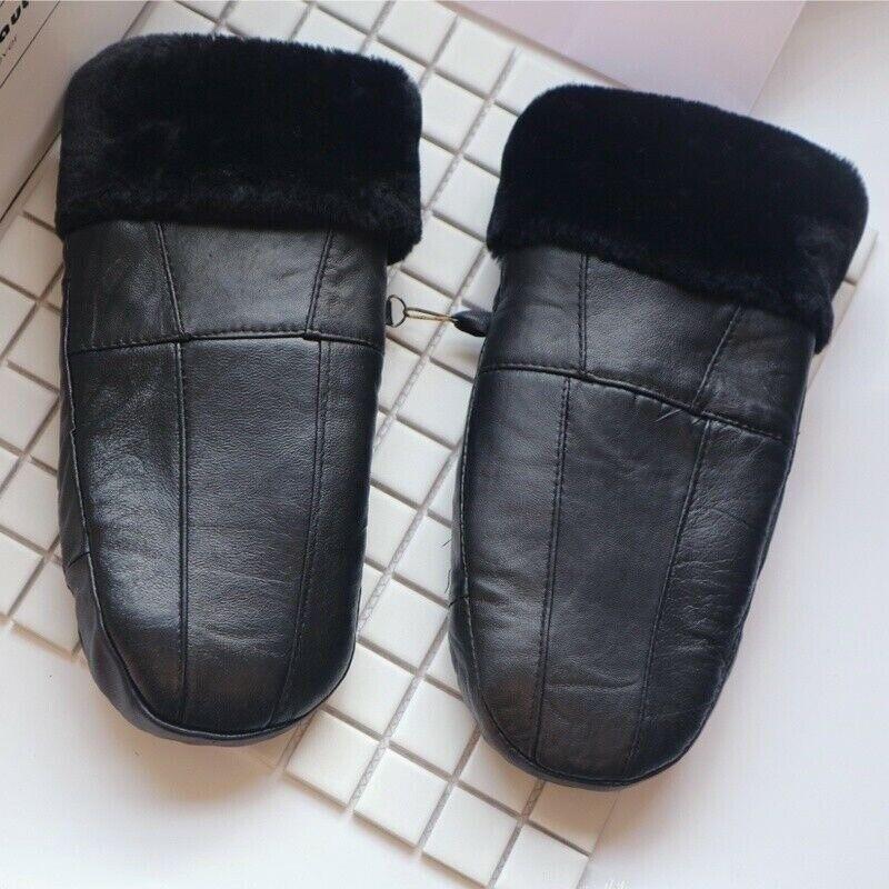 Men Women Sheepskin Leather Mittens Gloves Wool Lined Winter Warm Thick Black