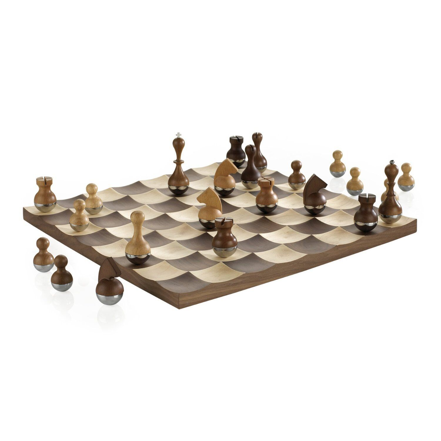 Umbra Wobble Chess Set w Wooden Curvy Pieces & Board Modern Game Collectors Gift