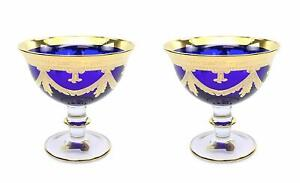 "24K Gold Vintage Design Interglass Italy /""Wine/"" 2-pc Luxury Crystal Glasses"