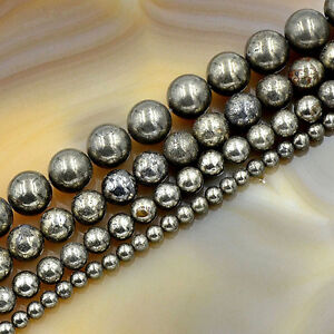 Natural-Pyrite-Gemstone-Round-Loose-Beads-16-039-039-4mm-6mm-8mm-10mm