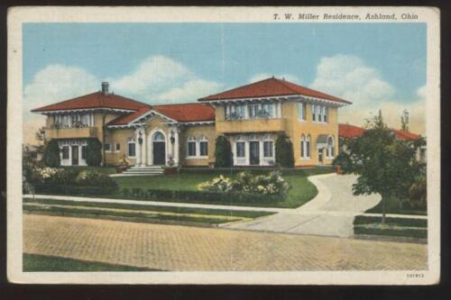 Postcard Ashland OH T.W. Miller Mansion House 1940's