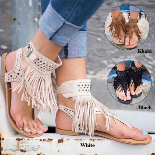 Women Boho Tassels Fringe Sandals Flat Flip Flops Summer Beach Casual Shoes SIze