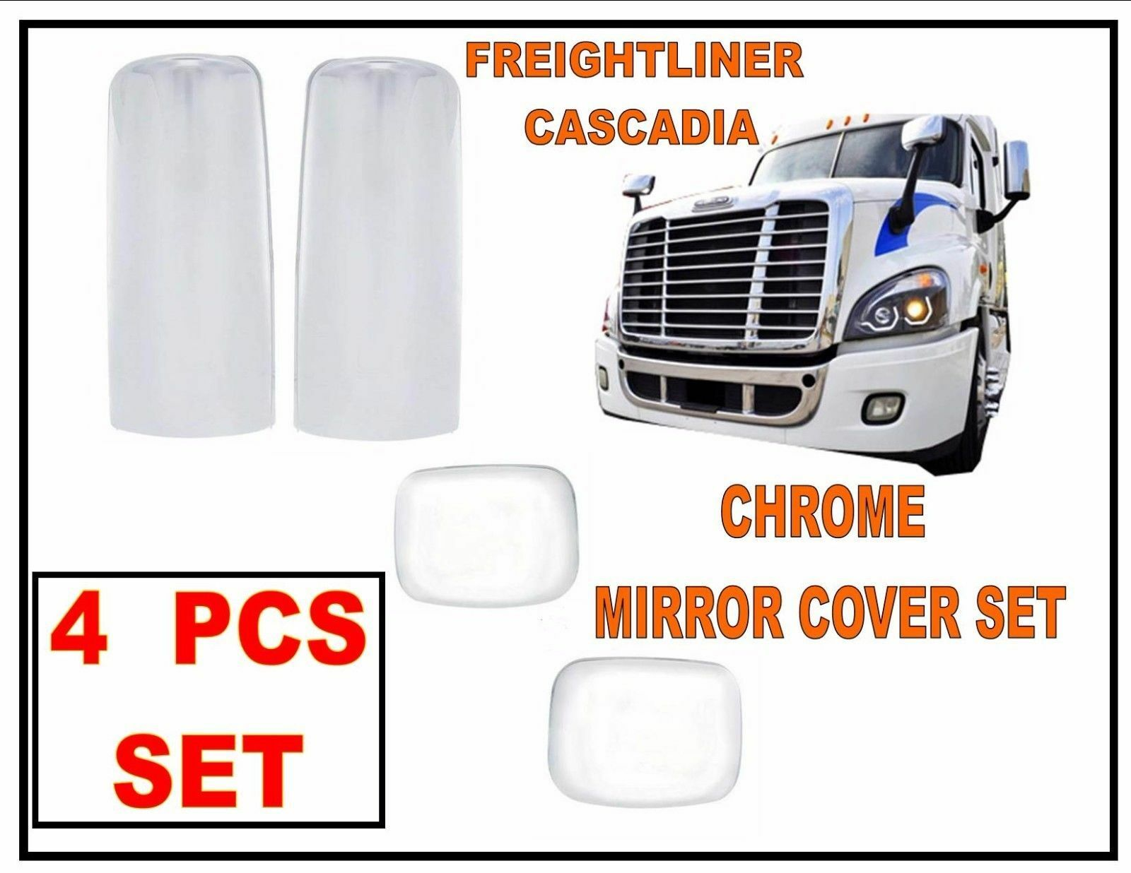Freightliner Cascadia Chrome Mirror Cover  Set TL28713 /& TL28712