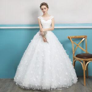 Hochzeitskleid-Brautkleid-Kleid-fuer-Braut-ohne-Schleppe-Weiss-Schnuerung-NEU-BC532