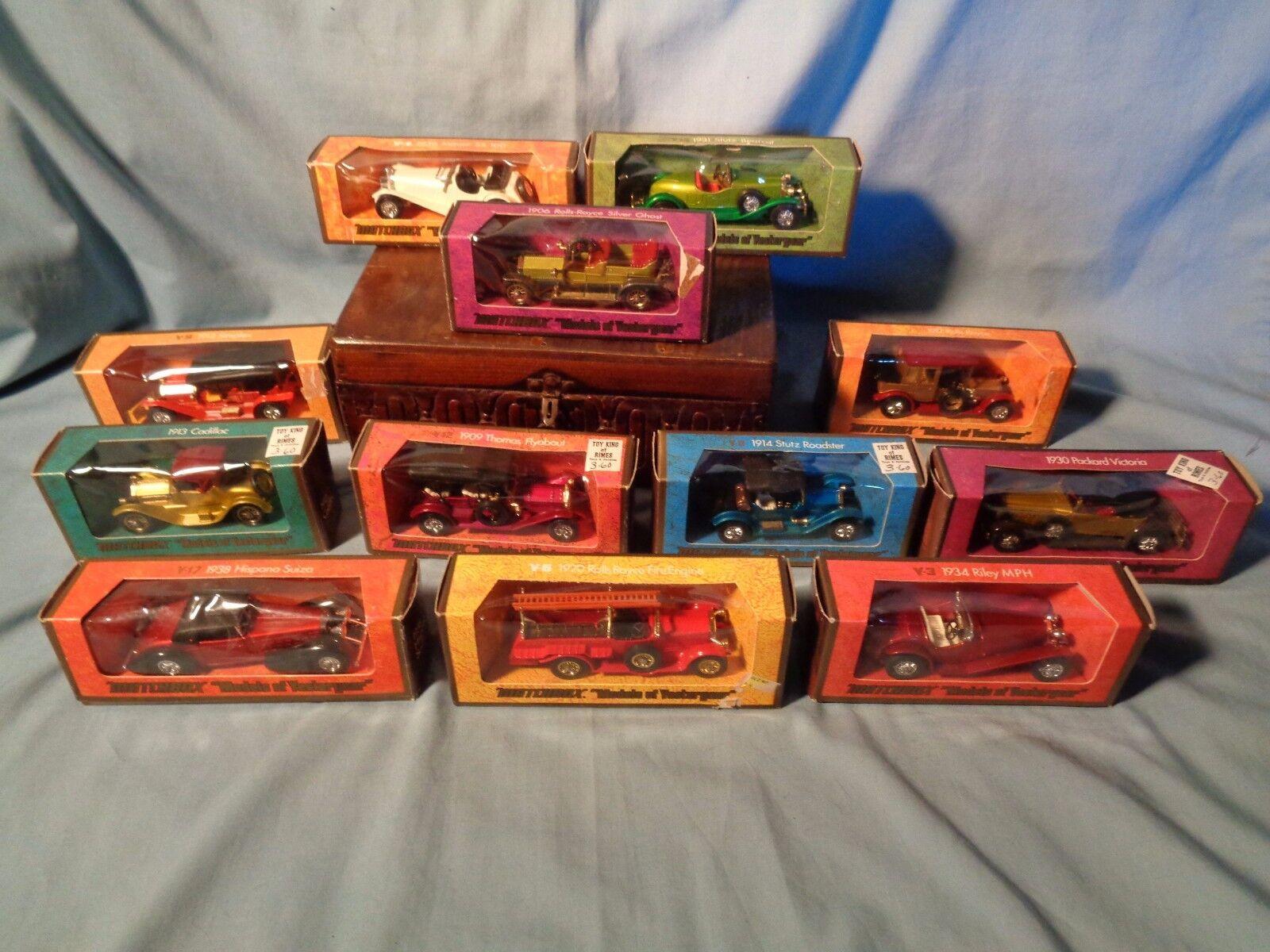 12 vintage 1973 Diecast TOY MATCHBOX Cars Y-1 BOX Models of Yesteryear Y-17 Y-6
