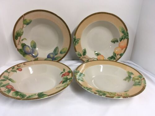 "4 Soup Or Salad 9"" Rimmed Bowls By PTS International /""Interiors Newbury/"""