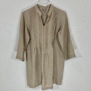 J-Jill-Women-039-s-Linen-Pleated-Tunic-Top-Taupe-SZ-Petite-SM