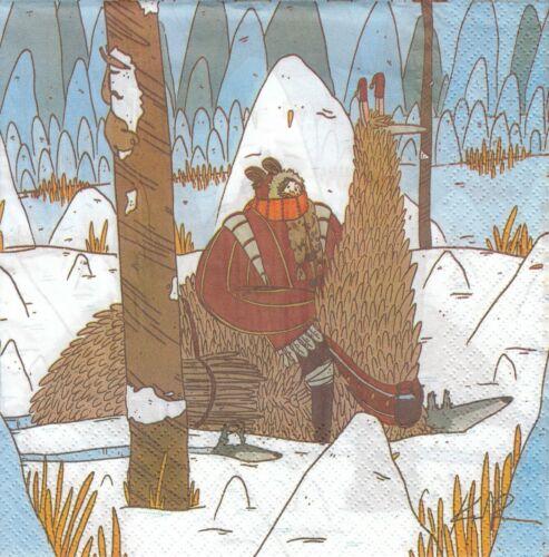 UUv19 2 Lunch Paper Servietten Napkins Märchen Mädchen auf Fantasytier Wölfe