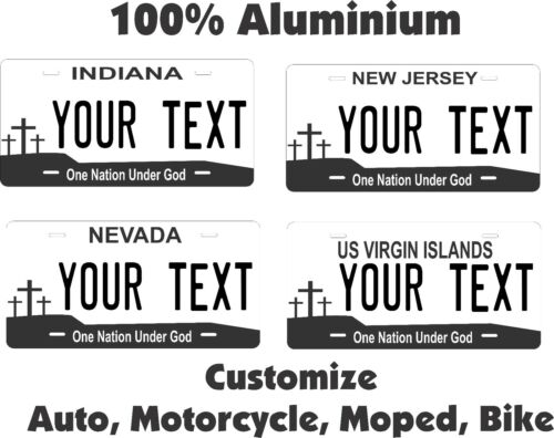 Any State Any Text Cross Personalized Auto Bike Moped Motorcycle License plates